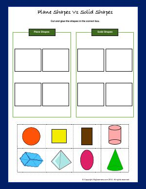 Preview image for worksheet with title Plane Shapes Vs Solid Shapes