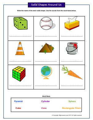 Preview image for worksheet with title Solid Shapes Around Us