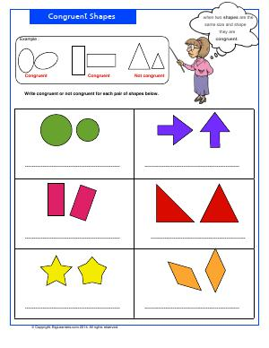 Preview image for worksheet with title Congruent Shapes