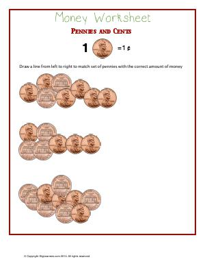 Preview image for worksheet with title Money Worksheet - Pennies and Cents
