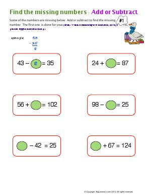 Preview image for worksheet with title Find the Miissing Numbers: Add or Subtract