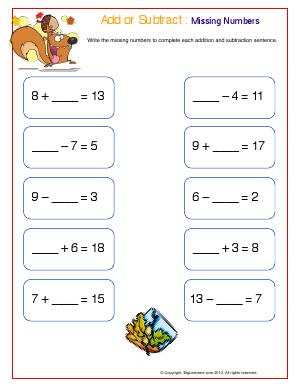 Preview image for worksheet with title Add or Subtract : Missing Numbers