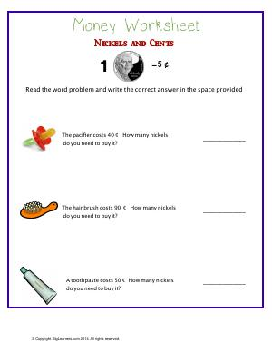 Preview image for worksheet with title Money Worksheet : Nickels and Cents