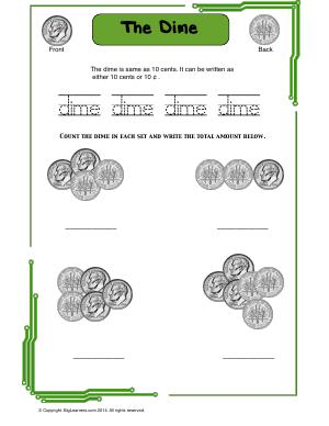 Preview image for worksheet with title The Dime