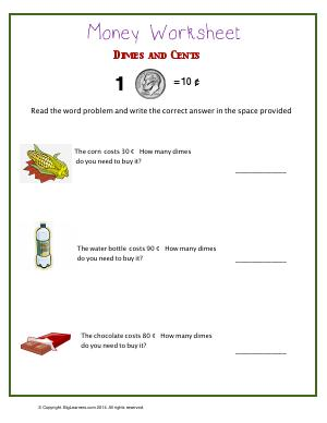 Preview image for worksheet with title Dimes and Cents