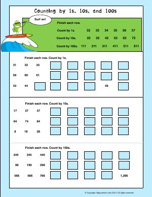 Preview image for worksheet with title Counting by 1s, 10s, and 100s.