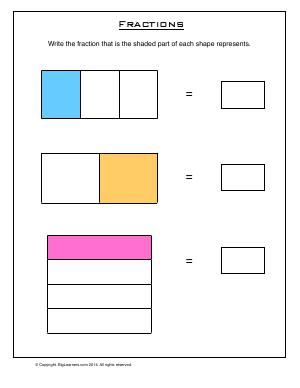 Preview image for worksheet with title Fractions