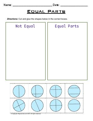 Preview image for worksheet with title Equal Parts
