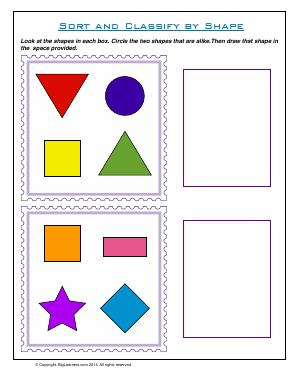 Preview image for worksheet with title Sort and Classify by Shape
