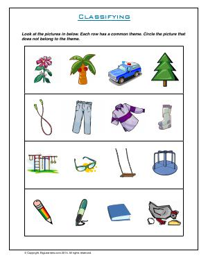Preview image for worksheet with title Classifying