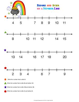 Preview image for worksheet with title Before and After on a Number Line