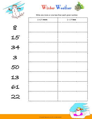 Preview image for worksheet with title Winter Weather