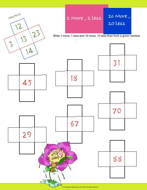 Preview image for worksheet with title 1 More, 1 Less : 10 More, 10 Less